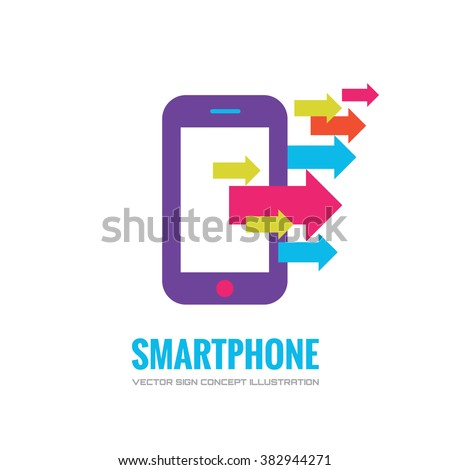 Smartphone vector logo concept illustration. Mobile phone vector logo creative illustration. Mobile technology logo. Cellphone logo. Mobile phone logo design. Vector logo template. Design element. - stock vector