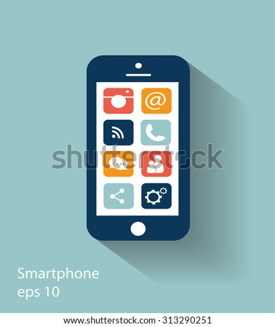 Smartphone vector modern icon illustration with social media icons, eps 10 - stock vector