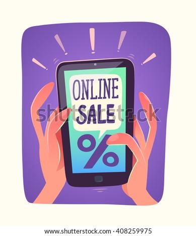 Smartphone views online sale. Vector illustration. - stock vector