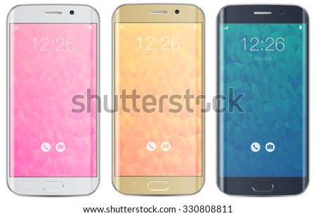 Smartphone white, gold and black with polygonal locked home screen isolated on white - easy way to place image into screen with shiny layer which influences on image - stock vector