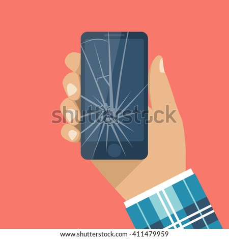 Smartphone with a cracked screen in a man's hand. Broken phone. Crack on screen. Vector illustration flat design style.  Mobile phone is broken. - stock vector