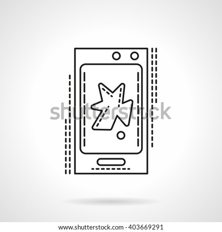 Smartphone with abstract action video sign. Mobile video app. V-blog. Digital technology. Vector icon flat thin line style. Element for web design, business, mobile app.  - stock vector