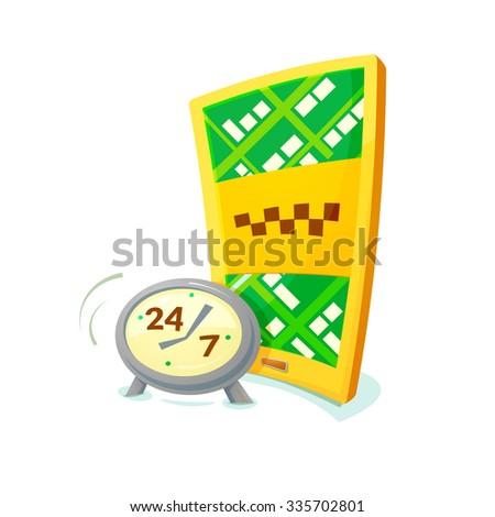 Smartphone with application taxi and clock, concept around the clock taxi, vector illustration