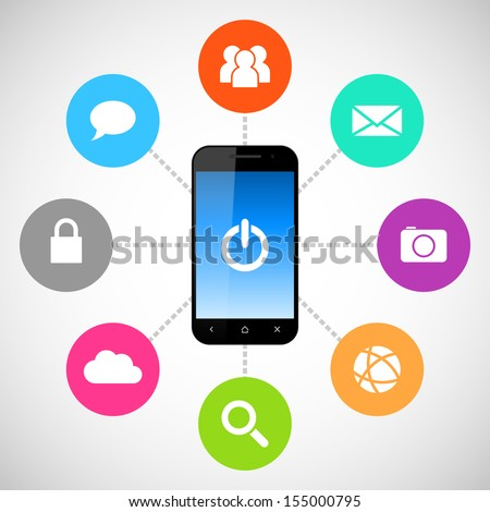 Smartphone with applications icons - stock vector