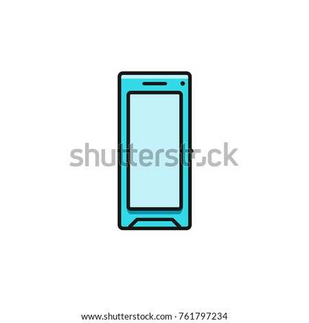 smartphone blank display flat color line stock vector 761797234