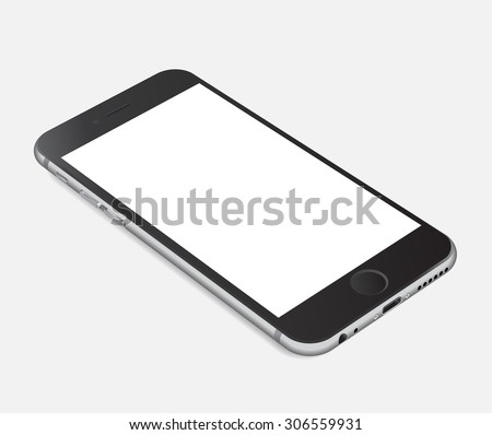 Smartphone with blank screen lying on flat surface, isolated on white background - high detailed realistic eps 10 vector illustration - stock vector