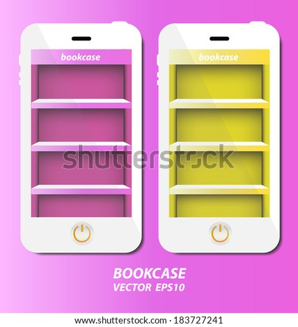 Smartphone with bookcase background on screen for ebook - stock vector