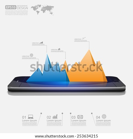 smartphone with business graph.vector - stock vector