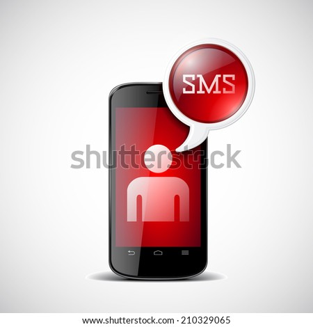 Smartphone with chat box with SMS - stock vector