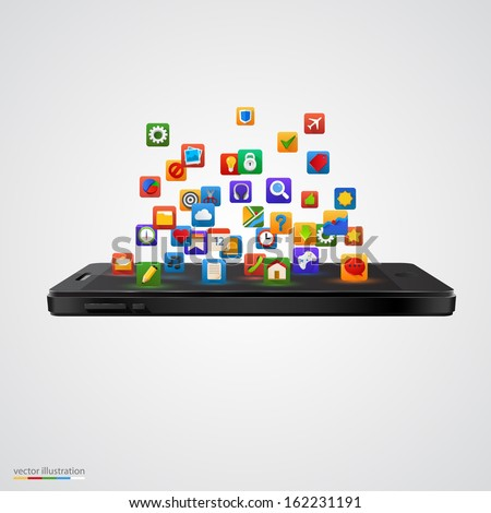 Smartphone with cloud of application icons. isolated white background