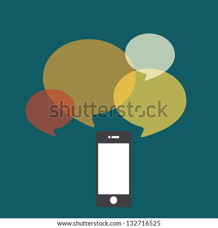 Smartphone with color buble quote - stock vector