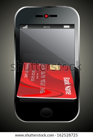 smartphone with credit card, concept digital payment, 3d illustration - stock vector