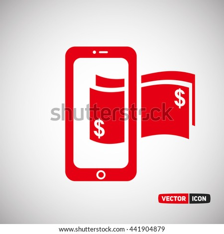 Smartphone with earning money . Vector Icon Eps.10 - stock vector