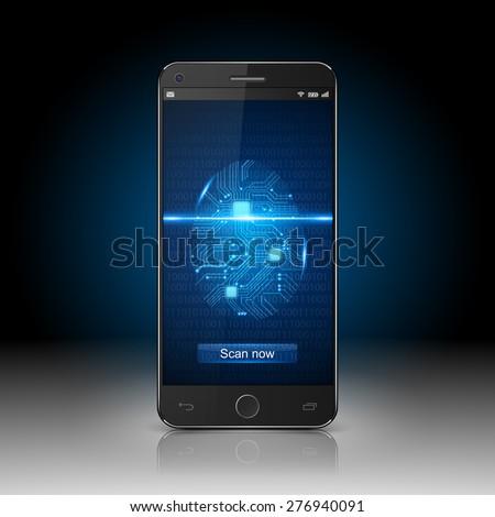 Smartphone with finger scan, vector - stock vector