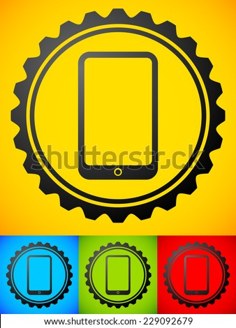 Smartphone with gears concept image. App Development or phone repair concepts - stock vector