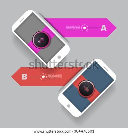 smartphone with infographic elements, copyspaces - stock vector