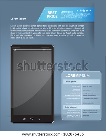 Smartphone with information for sale - stock vector