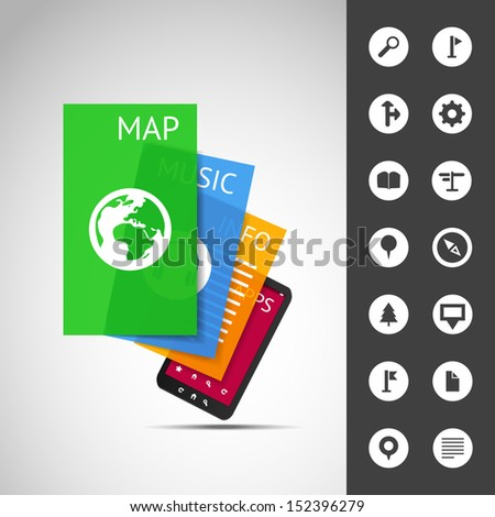 Smartphone With Layers and Icons | Business Vector Illustration - stock vector