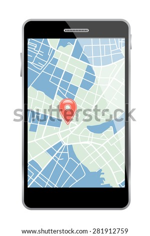 Smartphone with map on white background. Vector illustration. - stock vector