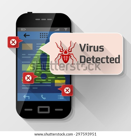 Smartphone with message bubble about computer virus. Dialog box pop up over screen of phone. Vector image about smartphone, communication, mobile technology, notification, application prompting, etc - stock vector