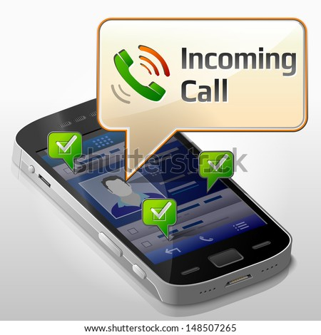 Smartphone with message bubble about incoming call. Dialog box pop up over screen of phone. Vector image about smartphone,  communication, mobile technology, notification, application prompting, etc