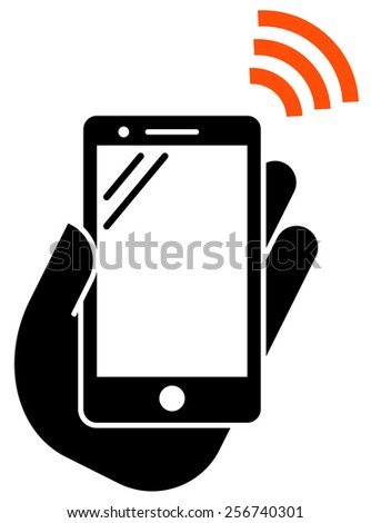 Smartphone with NFC icon - stock vector