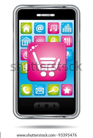Smartphone with open store application. E-commerce vector icon. - stock vector