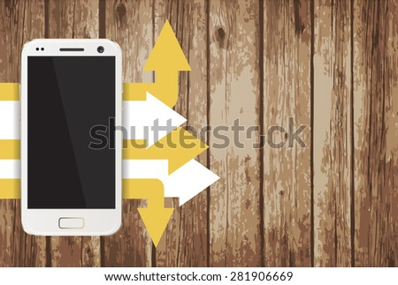 Smartphone with paper sheets on wooden background vector illustration - stock vector