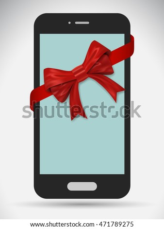 Smartphone with red bow