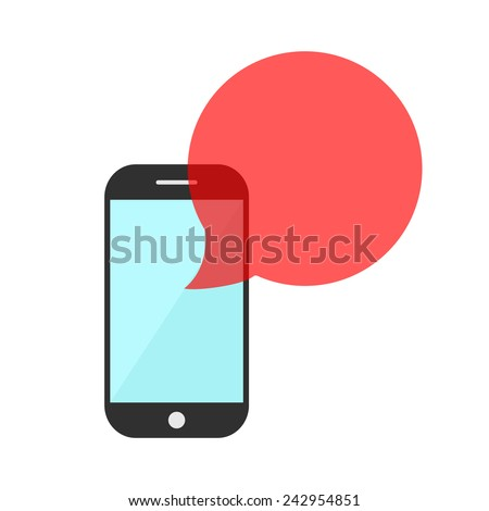 smartphone with red transparent speech bubble. concept of online communion, voicemail and chat application. isolated on white background. flat style trendy modern logo design eps10 vector illustration - stock vector