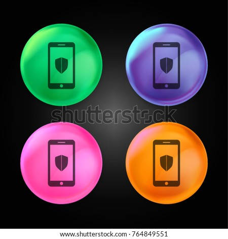 Smartphone with Shield crystal ball design icon in green - blue - pink and orange.