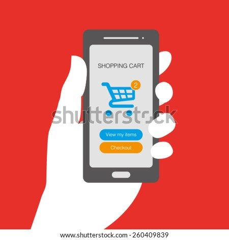 Smartphone with shopping cart icon on a screen - stock vector