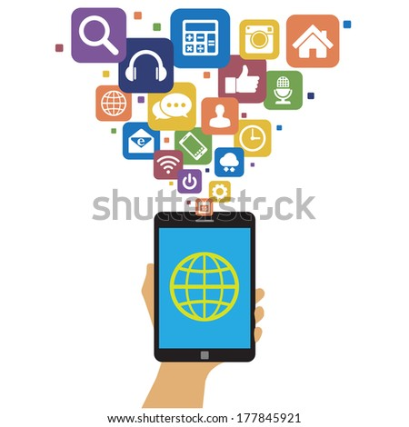 Smartphone with social media icons.Illustration eps10 - stock vector