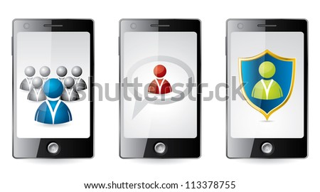 Smartphone with social media icons on screen - stock vector