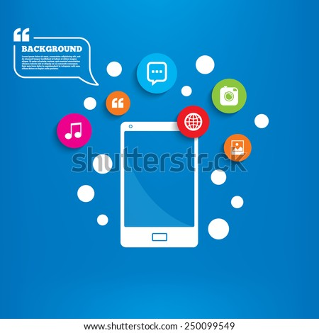 Smartphone with speech bubble. Social media icons. Chat speech bubble and world globe symbols. Hipster photo camera sign. Landscape photo frame. Background with circles, quotes and musical note. - stock vector