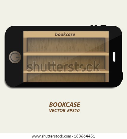 Smartphone with wooden bookcase background on screen for ebook - stock vector