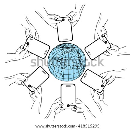 Smartphones Around the globe, isolated on white background - global communication concept. vector illustrations. - stock vector