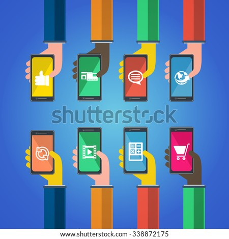 Smartphones in hands. Mobile apps concept. Vector in flat design. Symbols of earth, credit card , chat bubble, like, thumbs up, video, shopping cart, calculator, connection. - stock vector