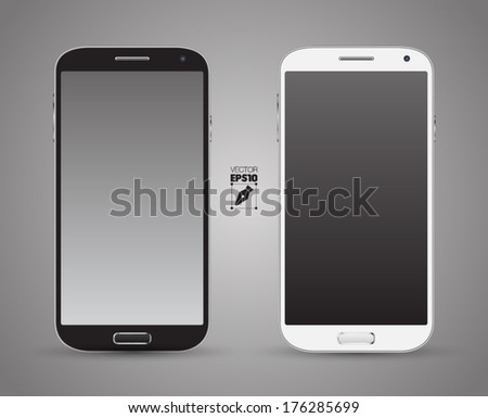 Smartphones vector mockup black and white. Can use for background frame / brochure object / web element / object for printing / app background mockup. - stock vector
