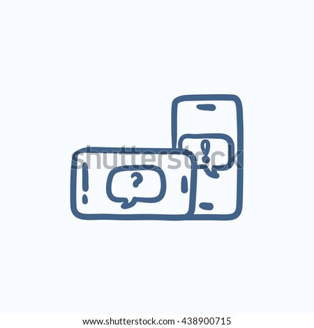 Smartphones with speech squares vector sketch icon isolated on background. Hand drawn smartphones with speech squares icon. Smartphones with speech squares sketch icon for infographic, website or app. - stock vector