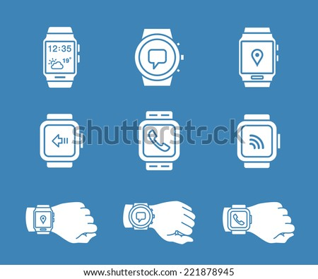 Smartwatch icons. Vector illustration of smart watches. - stock vector