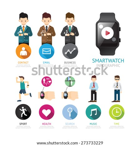 Smartwatch infographic menu connection isolated with icons and people. smart social life trendy concept. Vector Illustration. - stock vector