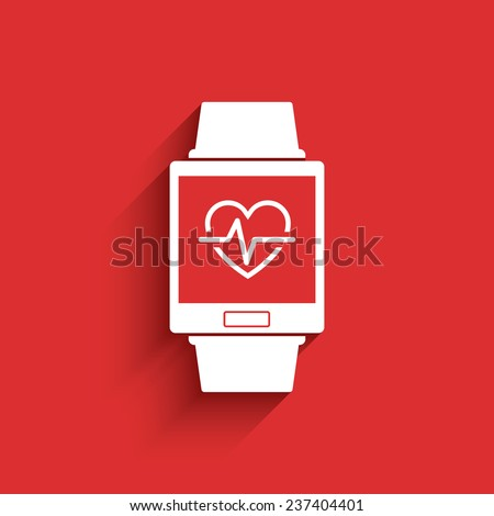 Smartwatch wearable technology symbol with icon for fitness tracker heart beat monitor application. Eps10 vector illustration. - stock vector