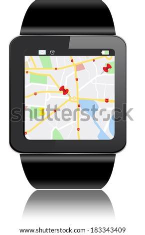 Smartwatch with GPS Map Directions and apps icons