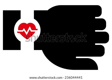Smartwatch with heart rate icon - stock vector