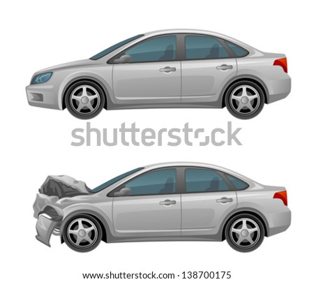 Smashed car - stock vector