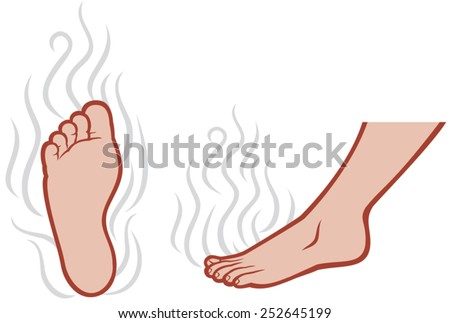 smelly feet (smell of male feet, stinky feet) - stock vector