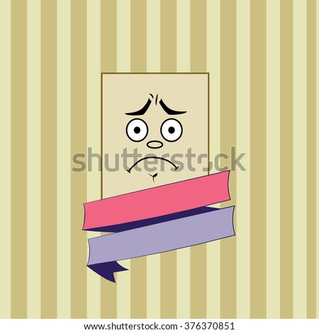Smile disappointed vector. Rectangular smile on striped background. concept illustration with colored ribbon.vintage retro style. - stock vector