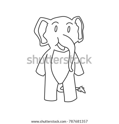Smile Elephant Line Art Printable Coloring Pages For Children Black White Cute