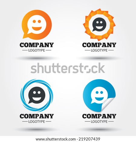 Smile face sign icon. Happy smiley chat symbol. Speech bubble. Business abstract circle logos. Icon in speech bubble, wreath. Vector - stock vector